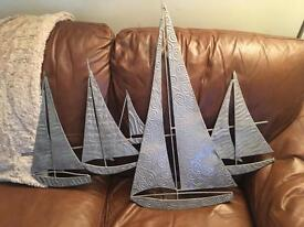 Metal ships wall art