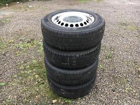 Volkswagen transporter t5.1 steel wheels with GOOD tyres