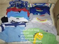 boys t-shirt bundle mix of short and long sleeves and 2 shirts 18 - 36 months