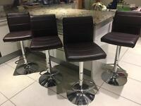 Four Brown Bar Stools - Excellent Condition