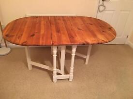 6 seater, drop leaf, pine dining table.