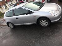 2002 Honda Civic 1.4cc one year mot n tax perfect car £430