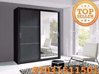 NEW Lux 180 2 Door Sliding high gloss + Mirror Wardrobe in white or black, cabinet