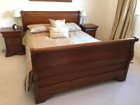 King size high back sleigh bed and matching side tables