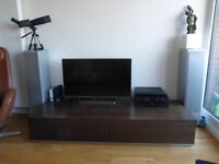 Italian-made contemporary Wenge sideboard/TV unit with aluminium rear cable tidy
