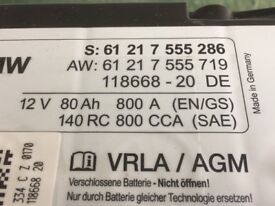 80 amp hr AGM battery Genuine BMW excellent condition fully charged,great for leisure battery .