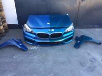 A single unit: Front end LHD BMW 2er F45,46 2014 Headlight bonnet Radiator bumper fenders AC ducts