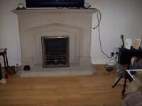 gas fire and surround in sandstone free to collector