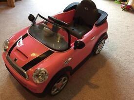 Children's Electric Mini Cooper S Pink Ride on Toy Car
