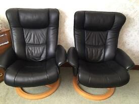 GILLIES LEATHER RECLINERS.