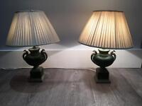 Antique ceramic green lamps with cream shades