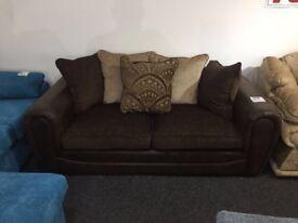 Soft Fabric, Leather Frame Sofa (3 Seater)