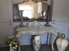 Upcycled console table and mirror