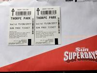 2 x adult tickets for THORPE PARK 15/08/17