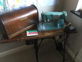 Original Singer sewing machine and table