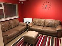 Leather Sofa Set & Footstool - Brown, Genuine New Montana Leather - Was Over £3000 New
