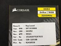Corsair DDR4 3200MHz memory 16GB (2X8GB)
