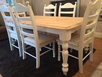 Fabulous 6ft Shabby Chic Oak Farmhouse Table and 6 Lovely Chairs