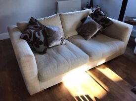 2x Sofas Sofology Large & Chunky INCLUDES Footstool OATMEAL/CREAM