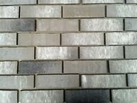 Brick tiles NF677 grey/white flamed