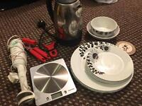 Assorted used kitchenware - plates scales blender