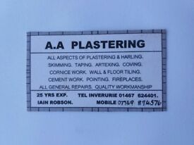 AA Plastering - Serving Aberdeen and surrounding areas (50 miles radius)