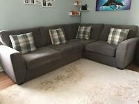 Grey corner sofa/couch and cuddle chair