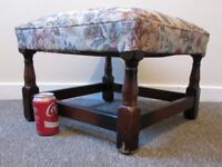 Vintage footstool 18th century antique style 47x 47cms footrest FREE DELIVERY