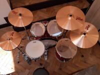 5-PIECE, Tama ImperialStar drum kit + hardware + Paiste PST 7 cymbals + drum throne + carrying cases