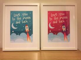 Framed love you to the moon and back print