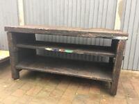 Antique heavy wood wooden work bench industrial chic kitchen island shop display