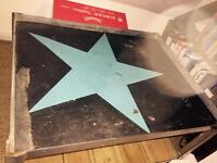 Warehouse style star table with wood under shelving