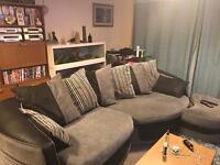 Snuggle sofa and footstool