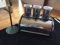 Bread bin, tea coffee and sugar canisters and kitchen roll holder