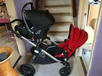 Double pram with car seat