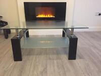 Black white glass coffee table brand new living room