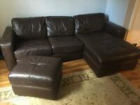 DFS L shape Leather Sofa Bed with storage Pouffe