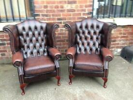 Brown Chesterfield Leather Wing Chairs - £450 each - UK Delivery