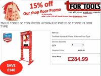 TM US TOOLS 30 TON PRESS Hydraulic Press 30 tonne Floor Type