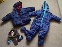 Baby boy 6-9 months blue pram suit, coat, hat and gloves
