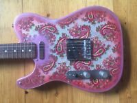 Lefty Left Handed Tele style Pink Paisley Electric Guitar with some Fender parts