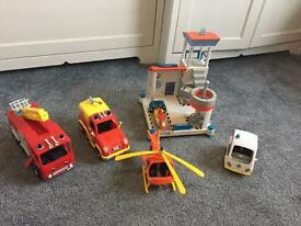FIREMAN SAM VEHICLE BUNDLE OCEAN RESCUE HELI
