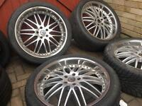"""22"""" alloy wheels & great tyres 5x120 BMW X5 Range Rover VW t5 Land Rover discovery deep dish"""