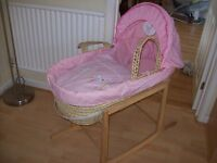 MOTHERCARE LITTLE BIRD MOSES BASKET AND ROCKING STAND