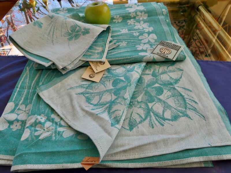 Vintage Soviet Belarus Turquoise Linen Tablecloth 8 Napkins Jacquard Flowers Tag