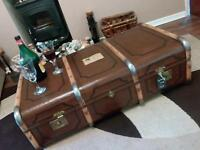 """ANTIQUE TRUNK """" RENOVATED"""" COFFEE TABLE"""