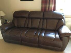 DFS Supreme leather sofa and chair electric recliners