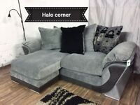 New black and grey halo chaise corner sofa**Free delivery**