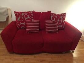 Red Two Seater DFS Sofa with Matching Chair