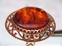 Russian Golden Ring with Genuine Amber. Sterling Silver 925 with Plated Gold. Size S